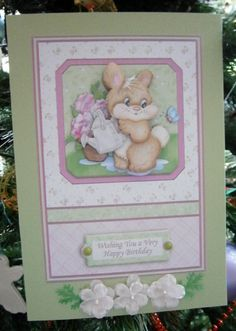 BUNNY BUSY LIZZIES Topper and Decoupage on Craftsuprint designed by Janet Briggs - made by Davina Rundle