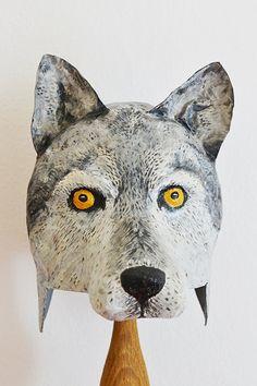 Paper mache wolf head hat by funghi on Etsy, Paper Mache Mask, Paper Mache Sculpture, Puppet Costume, Paper Art, Paper Crafts, Paper Mache Animals, Wolf Mask, Cardboard Paper, School Art Projects