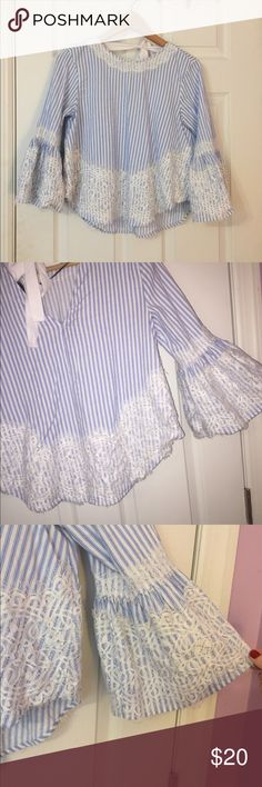 Zara blouse Blue and white pin stripes with lace trimmings. Perfect blouse to wear to brunch ! Zara Tops Blouses