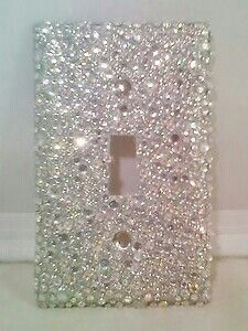 Bling silver glitter with clear & ab rhinestones switch cover Bling Bedroom, Girls Bedroom, Bedroom Decor, Bedrooms, Bedroom Ideas, Gray Bathroom Decor, My New Room, My Room, Glam Room
