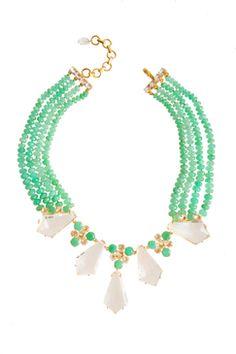 Chrysoprase & Clear Quartz Necklace