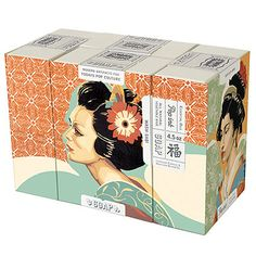 Wash-Sabi - Boxed Set of 4 Soaps $10.00 by French Paper - I adore the geisha art and the tag seals.
