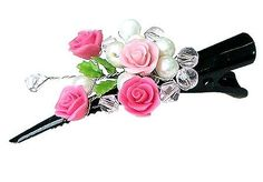 Polymer Clay Jewelry Miniature Pink Roses Bridal by minihandmade, $6.90