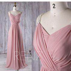 Bridesmaid Dress Dusty Rose Chiffon Wedding DressBeaded