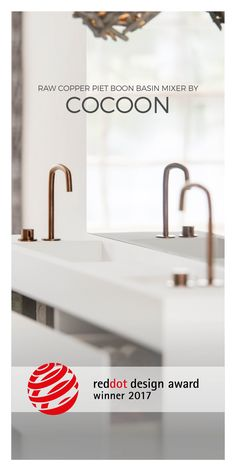 Winner of the RED DOT Design Award 2017 : Piet Boon® Basin Mixer by COCOON | stainless steel deck mounted bathroom and kitchen tap in Brushed Stainless Steel, Gunmetal Black, Raw Copper | available on bycocoon.com | modern chic bathroom design with a passion for timeless design | copper taps | kitchen design | interior design | Dutch Designer Brand COCOON