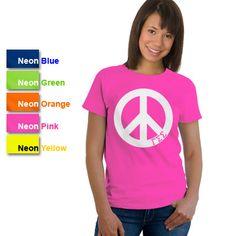 Gamma Sigma Sigma Sorority Neon Peace Sign Printed T-Shirt #Greek #Sorority #Clothing #GammaSigmaSigma #GSS #Peace #Neon