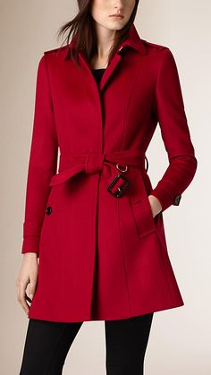 d660a7e06c8 Parade red Pleat Detail Wool Cashmere Trench Coat - Image 1 Trenchcoats