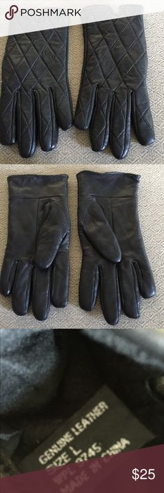 Black Leather Gloves.  Size L Nice pair of leather gloves.  Size L Accessories Gloves & Mittens