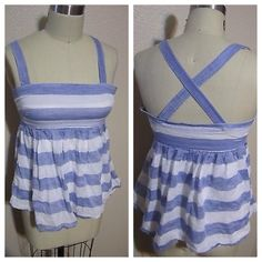 Jcrew striped top Blue and white striped top with umpire waist and adjustable straps. In good condition. no holes or stains. 95% cotton. 5% ramie J. Crew Tops