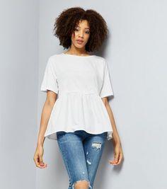 White Peplum Hem Short Sleeve T-Shirt | New Look