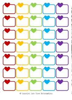 Half Boxes Heart - Rainbow Colors - Free planner printables