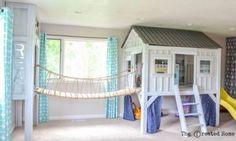 Cabin Playroom with Rope Bridge, Diy And Crafts, cabin playroom with rope bridge to reading nook. Girl Room, Girls Bedroom, Bedroom Decor, Baby Room, Childrens Bedroom Furniture, Loft Furniture, Girl Bedroom Designs, Furniture Stores, Furniture Ideas