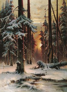 Winter Sun Dawn in a Forest ~ Yuliy Yulevich (Julius) Klever, Russian Painter