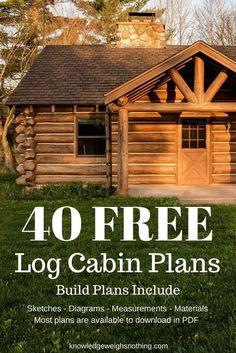Log Home Plans: 40 Totally Free DIY Log Cabin Floor Plans - home design ideas Log Cabin House Plans, Diy Log Cabin, How To Build A Log Cabin, Log Cabin Homes, House Floor Plans, Small Log Cabin Plans, Log Cabins, Mountain Cabins, Log Cabin Home Kits