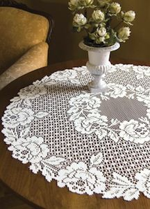 Heritage Lace Table Toppers in the Cottage Rose pattern.
