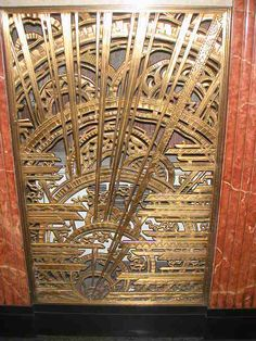 One of several bronze grilles in the Chanin Building in New York. Chanin designed it with the assistance of the artist René Chambellan, who specialized in architectural sculpture and was very popular in 1920s.
