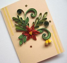 Handmade Christmas Card - Quilled Christmas Flower Poinsettia - Quilling Christmas Bells
