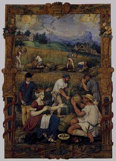 O cotidiano no início do século XVI. Livro das Horas, m~es de agosto. Autor desconhecido, obra provavelmente feita entre 1510 e 1520.