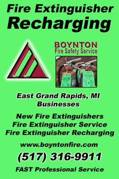 Fire Extinguisher Recharging East Grand Rapids, MI.  (517) 316-9911 Check out Boynton Fire Safety Service.. The Complete Source for Fire Protection in Michigan. Call us Today!
