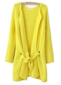 Light Yellow Long Sleeve Drawstring Loose Cardigan Sweater