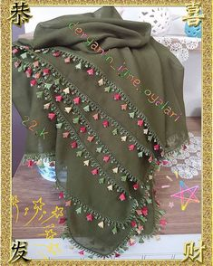 This Pin was discovered by Ozk Cross Stitch Embroidery, Hand Embroidery, Embroidery Neck Designs, Embroidery On Clothes, Scarf Hairstyles, Blouse Designs, Alexander Mcqueen Scarf, Tatting, Diy And Crafts