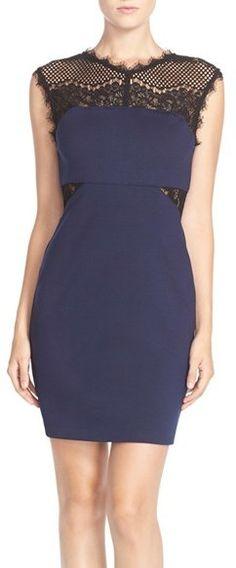 Adelyn Rae Lace Yoke Ponte Body-Con Dress