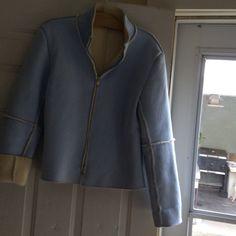 Coat List blue faux suede/ fleece on inside short coat Jackets & Coats