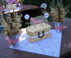 Cowgirl Birthday-When I first saw this I thought it was a rice krispie treat cake made to look like a bale of hay. Hey, it could work!