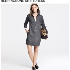 Herringbone Shirt Dress Brand new without tags. Perfect condition J. Crew Dresses
