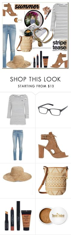 """Marine Layer: Striped Shirts"" by eula-eldridge-tolliver ❤ liked on Polyvore featuring Frame Denim, Alexandre Birman, Nordstrom, Lucky Brand, Laura Geller and Terre Mère"