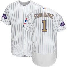 collection stitched mlb jersey. cubs 1 kosuke fukudome white(blue strip) flexbase authentic 2017 gol