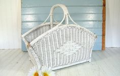 Vintage Hand Woven White Wicker & Wood Flower by DivineOrders, $39.00