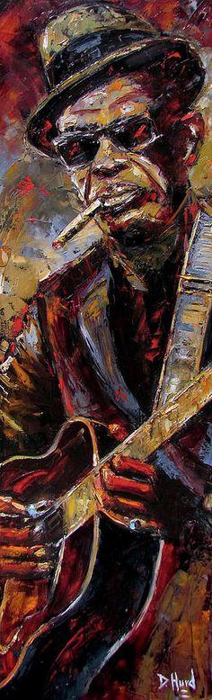 Lightnin' Hopkins Painting - Lightnin Hopkins by Debra Hurd