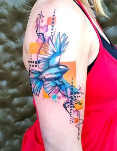 2b1800858 A creative bluebird tattoo idea made in mixed watercolor and abstract  styles. Freedom Symbol Tattoo