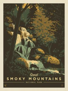 Great Smoky Mountains National Park ~ Kenneth Crane of Anderson Design Group Illustrations And Posters, Illustrations Posters, Travel Art, Vintage Poster Design, Illustration Art, Art, Poster Design, National Park Posters, Park Art