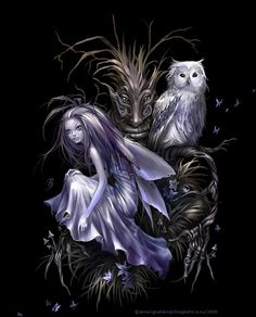 OWL by the artist Anna Ignatieva. A Magnetica Trick Fairy for a Private T-Shirt Co. Magical Creatures, Fantasy Creatures, Fantasy World, Dark Fantasy, Elves Fantasy, Fantasy Fairies, Aztecas Art, Fairy Pictures, Gothic Fairy