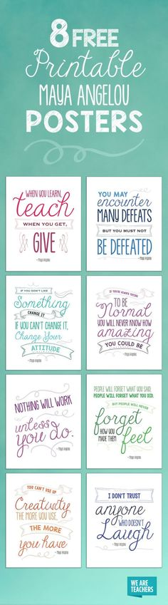These inspiring Maya Angelou quotes are perfect for your classroom walls.