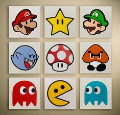 Super Mario, Luigi, Pacman, Goomna, Ghosts, Mushrooms and more. Fan art by Lantana Louise