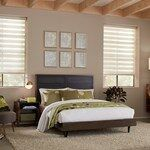 Our Premier Sheer Shades offers the effective light control of a horizontal blind with the soft elegance of a fabric shade. The uniquely designed fabrics provide privacy for your home while preserving your view to the outside and gently filter light in. Small Closets, Small Rooms, Grey Blinds, Shades Blinds, Blinds For Windows Living Rooms, House Blinds, Sheer Shades, Horizontal Blinds, Simple Closet