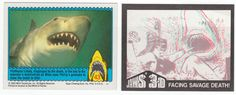 Jaws 3-D Trading Card Set: 1983, Topps, Complete set of 44 cards and one wax pack wrapper folded down to card size for insertion into plastic sheet pages with a pair of mini-3D glasses, NM, this inventive set features scenes from the movie on the card front and 3-D drawings on the back. The movie starred and the cards feature Dennis Quaid, Bess Armstrong, Louis Gossett Jr., Lea Thompson, Simon MacCorkindale, and Bruce 3. $9