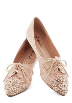 Market Meandering Flat - Flat, Faux Leather, Cream, Solid, Lace, Wedding, Daytime Party, Valentine's, Fairytale, Good, Lace Up