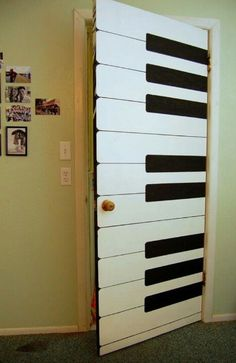 Or have a smaller horizontal keyboard on the door and have people play a piece of music so I can guess what they're trying to play by the tapping noises before opening the door. (:
