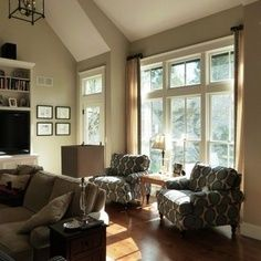 Pictures of rooms with two different colors painted for How to paint a cathedral ceiling room