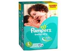 Pampers Baby Dry Large Size Diapers 60 Count At Rs.639