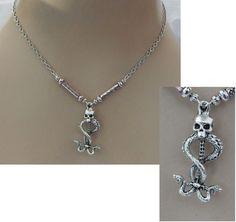 Silver Skull & Snakes Pendant Necklace Jewelry Handmade NEW Adjustable Fashion #handmade #Pendant