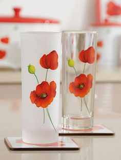 Poppy Decorated Tumblers by Ravenhead