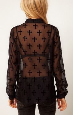 Black Lapel See-through Long Sleeve Blouse. I would wear this with a pop of color tank underneath.