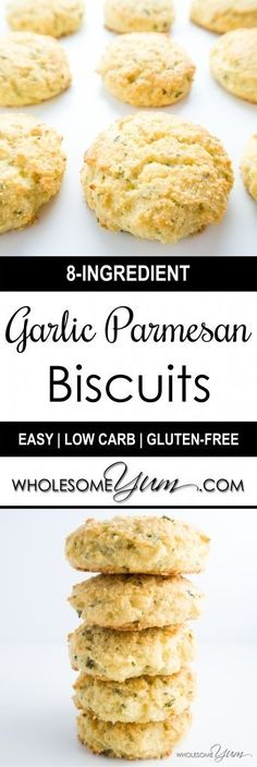 Garlic Parmesan Biscuits (Low Carb, Gluten-free) | Wholesome Yum - Natural, gluten-free, low carb recipes. 10 ingredients or less.