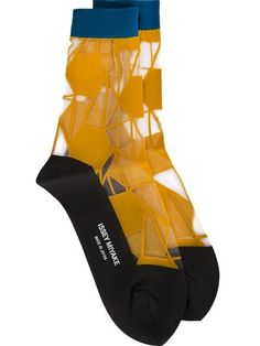 Yellow, blue and brown sheer panel socks from Issey Miyake. Issey Miyake, Cute Socks, My Socks, Designer Socks, Fashion Socks, Mode Style, Sock Shoes, Hosiery, Fashion Design