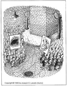 """""""QUINO Argentine / Spanish artist with impossibly controlled pen and ink line work. Creator of Mafalda. Political Art, Political Cartoons, Funny Cartoons, Funny Comics, Satirical Illustrations, Comic Manga, Web Gallery, Deep Art, Music Humor"""
